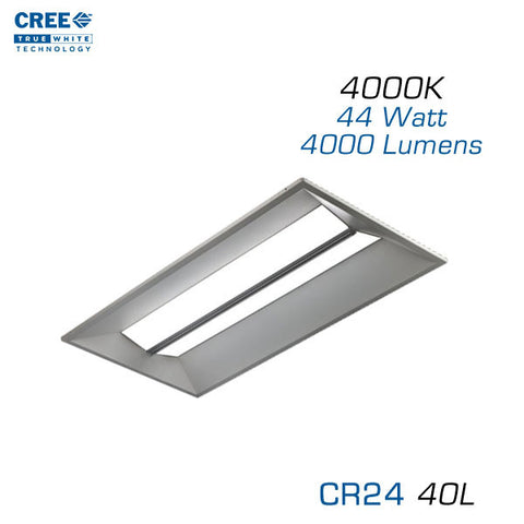 CREE CR24-40L - 2x4 LED Troffer - 44 Watts - 4000K - Step Dimming