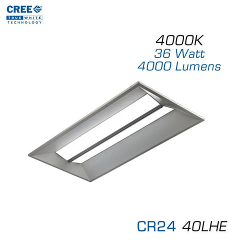 CREE CR24-40LHE - 2x4 LED Troffer - 36 Watts - 4000K - Step Dimming