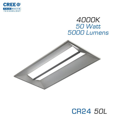 CREE CR24-50L - 2x4 LED Troffer - 50 Watts - 4000K - Step Dimming