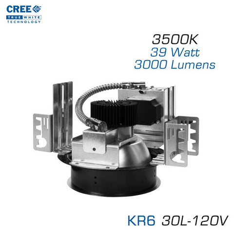 CREE KR6-30L-35K-120V LED Downlight - 6 Inch Aperture