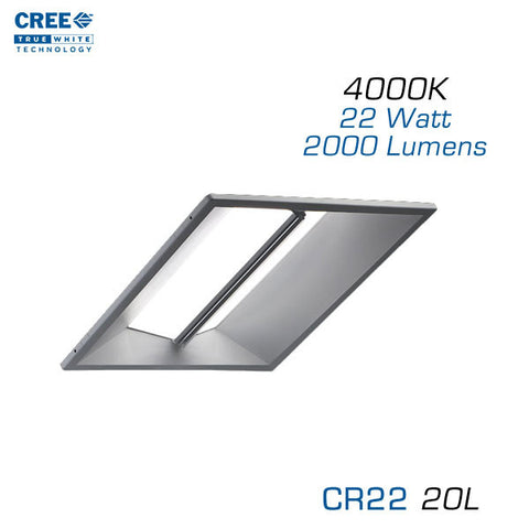 CREE CR22-20L-40K 2x2 LED Troffer - 22 Watts - 4000K - Step Dimming