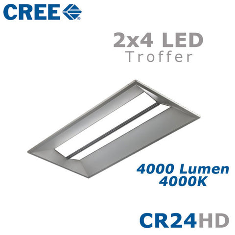 CREE CR24-40L-40K-S-HD 44 Watt 2x4 LED Troffer Light Fixture Step Dimming 4000K  sc 1 st  EarthLED.com & CREE CR24-40L-40K-S-HD 44 Watt 2x4 LED Troffer Light Fixture ...