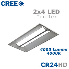 CREE CR24-40L-40K-S-HD 44 Watt 2x4 LED Troffer Light Fixture Step Dimming 4000K