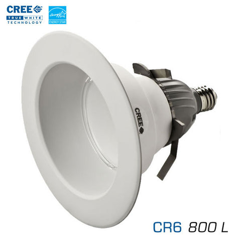 "CREE CR6-800L - 6"" Recessed Downlight - 12 Watts - 800 Lumens - Soft White - Edison Base - 90 Watt Equal"
