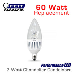 FEIT PerformanceLED Chandelier Candelabra Omni-Directional - 7.5 Watt - 500 Lumens - 60 Watt Equal - E12 Base - Bullet Tip