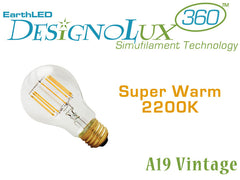 EarthLED DesignoLux 360 Vintage - A19 - Dimmable Decorative Clear LED Bulb