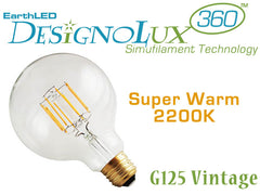 EarthLED DesignoLux 360 Vintage - G125 - Dimmable Decorative Clear LED Bulb