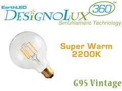 EarthLED DesignoLux 360 Vintage - G95 - Dimmable Decorative Clear LED Bulb