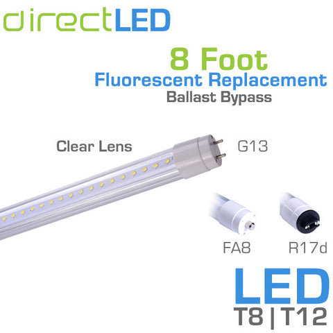 DirectLED - 8 Foot - LED Fluorescent Replacement Tube - Ballast Bypass - 36 Watt - 3900 Lumens - Clear Lens