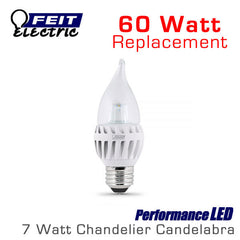 FEIT PerformanceLED Chandelier Candelabra Omni-Directional - 7 Watt - 500 Lumens - 60 Watt Equal - Medium E26 Base