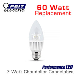 FEIT PerformanceLED Chandelier Candelabra Omni-Directional - 7.5 Watt - 500 Lumens - 60 Watt Equal - E26 Base - Bullet Tip