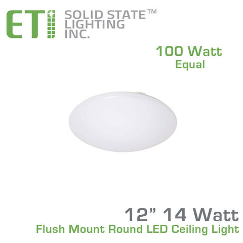 "ETi 14 Watt 12"" Flush Mount Round LED Ceiling Light - 100 Watt Equal - 100-277V 4000K"