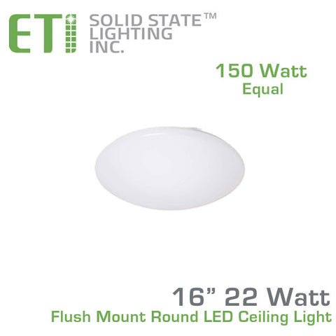 "ETi 22 Watt 16"" Flush Mount Round LED Ceiling Light - 150 Watt Equal - 100-277V 4000K"