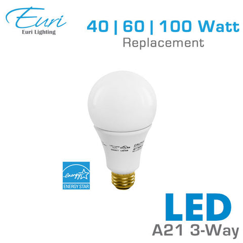 Euri LED 3-Way A21 - 17 Watts  - 450/800/1600 Lumens - 40/60/100 Watt Equal