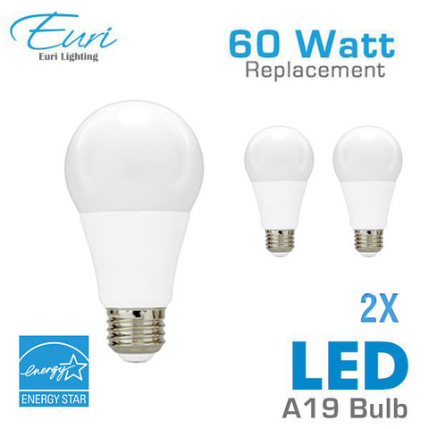 Euri 9.5 Watt LED A19 Light Bulb - 60 Watt Equal - Dimmable - Shatterproof - Energy Star - 2 Pack