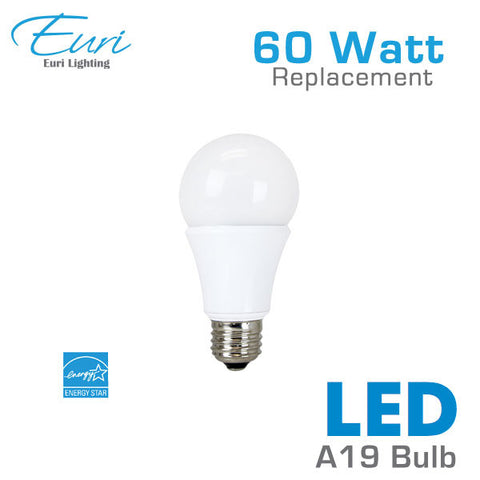 Euri 9 Watt LED A19 Light Bulb - 60 Watt Equal - Dimmable - Shatterproof