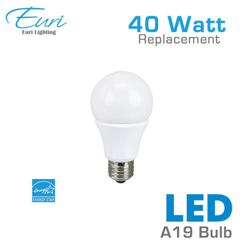 Euri 6.5 Watt LED A19 Light Bulb - 40 Watt Equal - Dimmable - Shatterproof