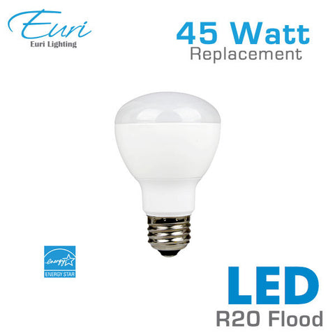 Euri 7 Watt LED R20 Flood Light Bulb - 45 Watt Equal - Dimmable - Shatterproof