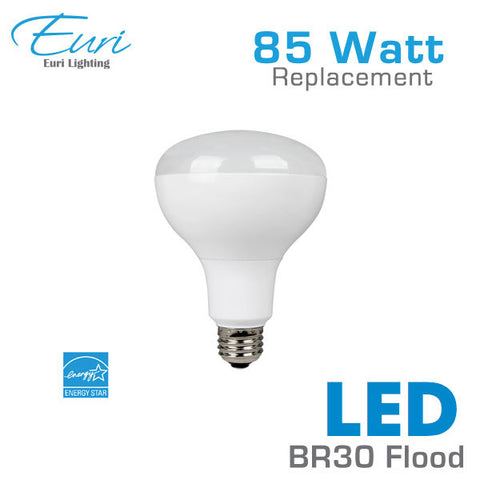 Euri 13 Watt LED BR30 Flood Light Bulb - 85 Watt Equal - Dimmable - Shatterproof