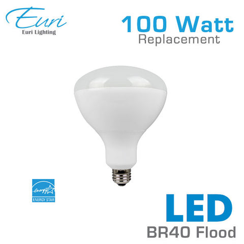 Euri 18.5 Watt LED BR40 Flood Light Bulb - 100 Watt Equal - Dimmable - Shatterproof
