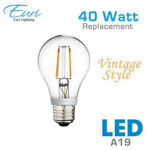 Euri Vintage Style LED A19 Filament Light Bulb - 4.5 Watt - 40 Watt Equal - Dimmable
