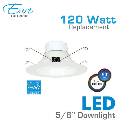 Euri - 5/6 Inch LED Downlight - 22 Watt - 120 Watt Replacement - Dimmable - High CRI