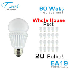 Euri Lighting EA19-5000 - 12W - 60 Watt Equal - LED A19 Bulb - Whole House Pack - 20 Bulbs