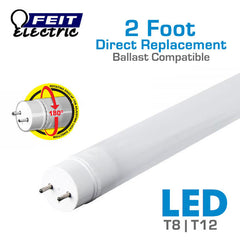 FEIT 2 Foot Direct Replacement Ballast Compatible LED Tube Light - Replaces T8 or T12 Fluorescent - 10 Watts
