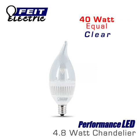 FEIT PerformanceLED E12 Base Candelabra - 4.8 Watt - 310 Lumens - Warm White (3000K) - 40 Watt Equal