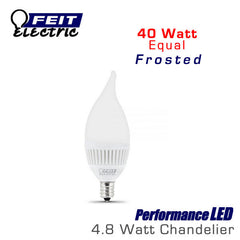 FEIT PerformanceLED E12 Base Candelabra Frosted - 4.8 Watt - 300 Lumens - Warm White (3000K) - 40 Watt Equal
