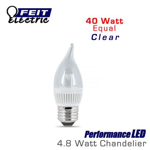 FEIT PerformanceLED E26 Base Candelabra - 4.8 Watt - 310 Lumens - Warm White (3000K) - 40 Watt Equal