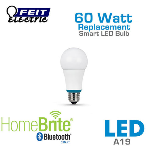 Feit Electric A19 Bluetooth Smart HomeBrite LED Light Bulb - 9 Watts - 60 Watt Equal - Dimmable