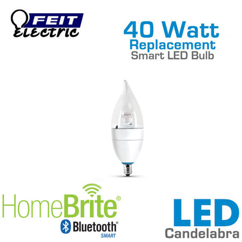 Feit Electric Candelabra Bluetooth Smart HomeBrite LED Light Bulb - 4.5 Watts - 40 Watt Equal - Dimmable