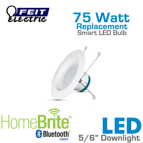 Feit Electric 5/6 Inch Bluetooth Smart HomeBrite LED Downlight Retrofit Kit - 14 Watts - 75 Watt Equal - Dimmable