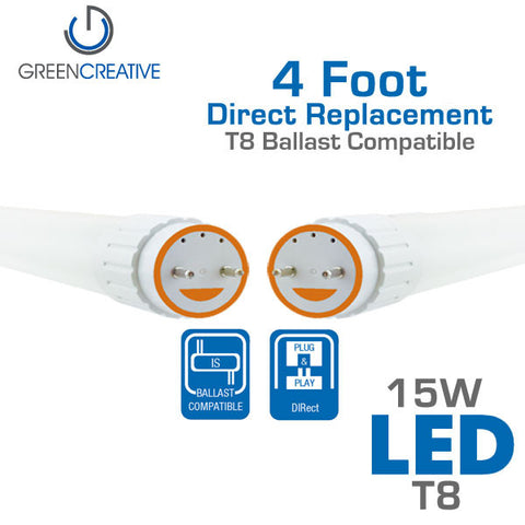 Green Creative DIRect T8 - 4 Foot - 15W - LED Replacement Tube - Ballast Compatible