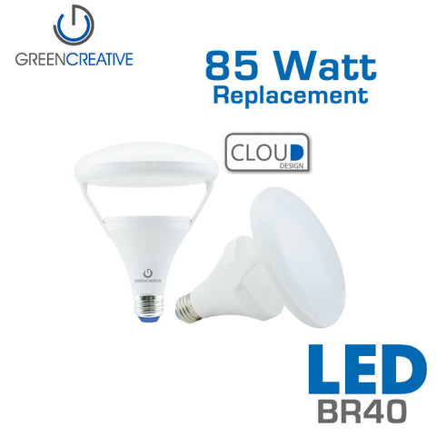 GREEN CREATIVE Titanium LED BR40 Cloud - 14 Watt - 85 Watt Equal - Dimmable - Fully Enclosed Rated