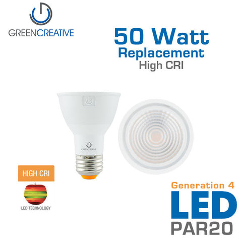 GREEN CREATIVE Titanium Series 4.0 - PAR20 - 7 Watt - 50 Watt Replacement - Dimmable -  High CRI - Fully Enclosed Rated
