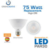 GREEN CREATIVE Titanium Series 4.0 - PAR30 - Shortneck - 11 Watt - 75 Watt Replacement - Dimmable - High CRI - Fully Enclosed Rated