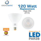 GREEN CREATIVE Titanium Series 4.0 - PAR38 - 17 Watt - 120 Watt Replacement - 120-277V - Non Dimmable - High CRI - Wet Location Rated - Fully Enclosed Rated