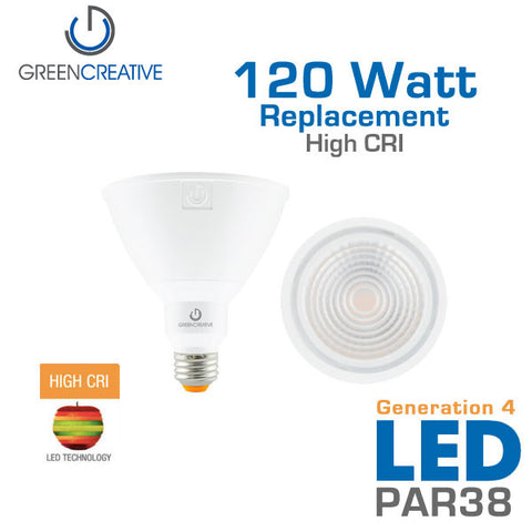 GREEN CREATIVE Titanium Series 4.0 - PAR38 - 18.5 Watt - 120 Watt Replacement - Dimmable - High CRI - Outdoor Rated - Fully Enclosed Rated
