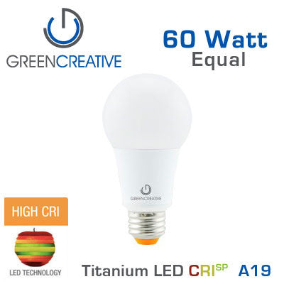 Green Creative Titanium 4.0 - CRIsp LED A19 Light Bulb - 9W - 60 Watt Replacement - Dimmable - High CRI