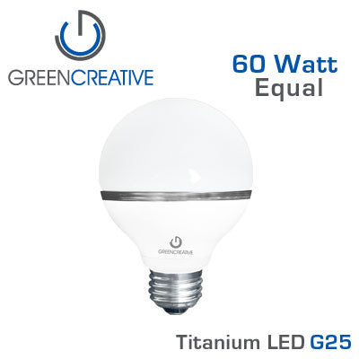 GREEN CREATIVE Titanium LED - 8 Watt - G25 - 60 Watt Equal
