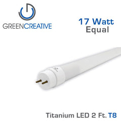 GREEN CREATIVE Titanium LED - 2 Foot T8 LED Retrofit Tube
