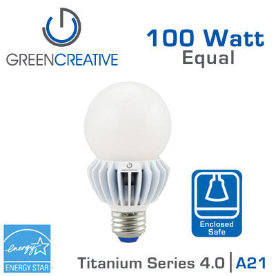 Green Creative Titanium 4.0 - LED A21 Light Bulb - 17W - 100 Watt Replacement - Dimmable - Suitable for Fully Enclosed Fixtures