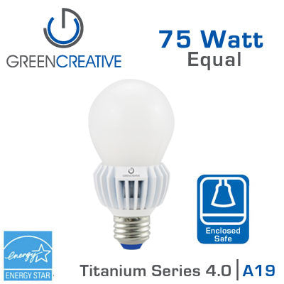 Green Creative Titanium 4.0 - LED A19 Light Bulb - 12W - 75 Watt Replacement - Dimmable - Suitable for Fully Enclosed Fixtures