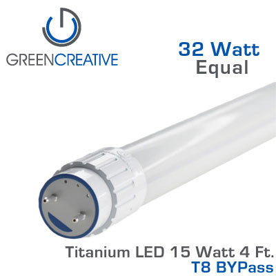 GREEN CREATIVE Titanium BYPass LED - 4 Foot T8 LED Retrofit Tube - 15 Watt