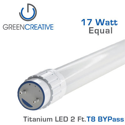 GREEN CREATIVE Titanium BYPass LED - 2 Foot T8 LED Retrofit Tube - 9 Watt
