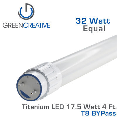 GREEN CREATIVE Titanium BYPass LED - 4 Foot T8 LED Retrofit Tube - 17.5 Watt