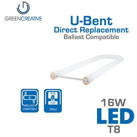 Green Creative DIRect T8 - U-Bent - 16W - LED Replacement Tube - Ballast Compatible