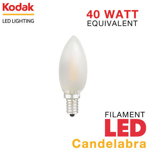 Kodak Vintage LED Filament Frosted - E12 Base - Candelabra - 4 Watt - 40 Watt Equal